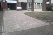 New driveways and paths using woburn rumbled Autumn blocks