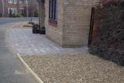 New Woburn rumbled paving and shingle areas to front garden, Foxglove Drive Bradwell