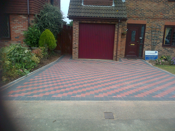 Red & charcoal blockpaving