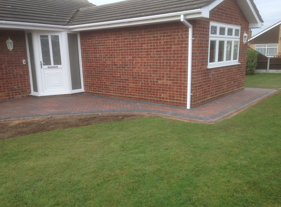 New pathways, Pinecot ave Bradwell, using brindle kerb setts and brindle and buff paving